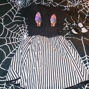 Kawaii Goth Sheer Black Ice Cream Blouse